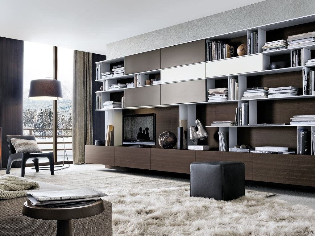 Modulare TV- Wohnwand aus Holz SKIP by Poliform Design Studio Kairos
