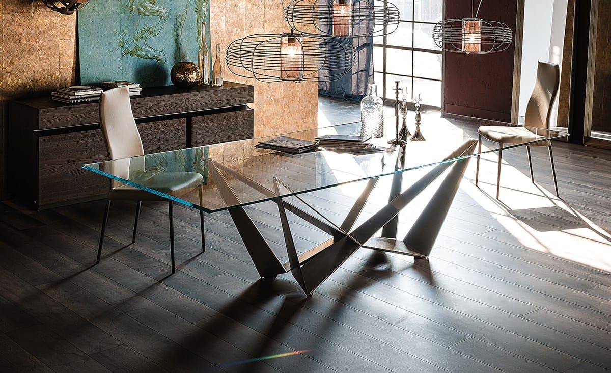 Tavolo rettangolare in cristallo SKORPIO  Cattelan Italia