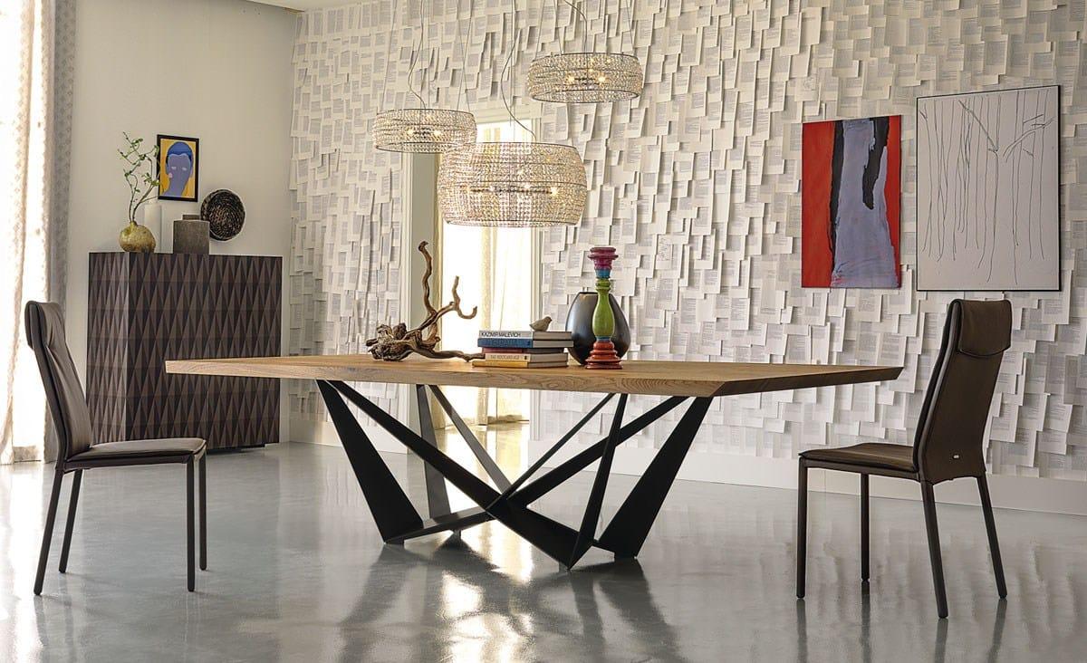 Rectangular wooden table skorpio wood by cattelan italia for Meuble commercial
