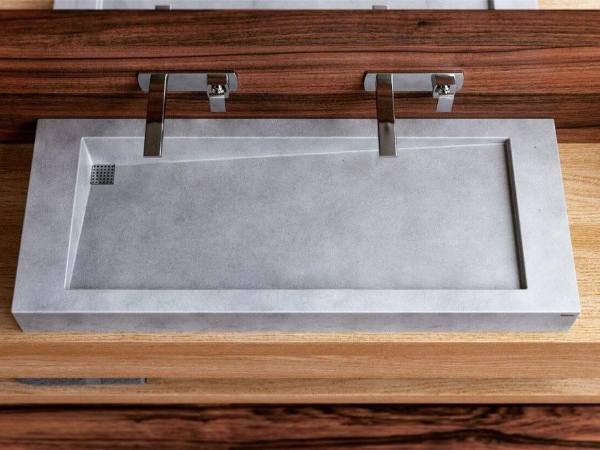 Lavabo sobre encimera doble de hormig n slant 03 double by - Lavabos dobles sobre encimera ...
