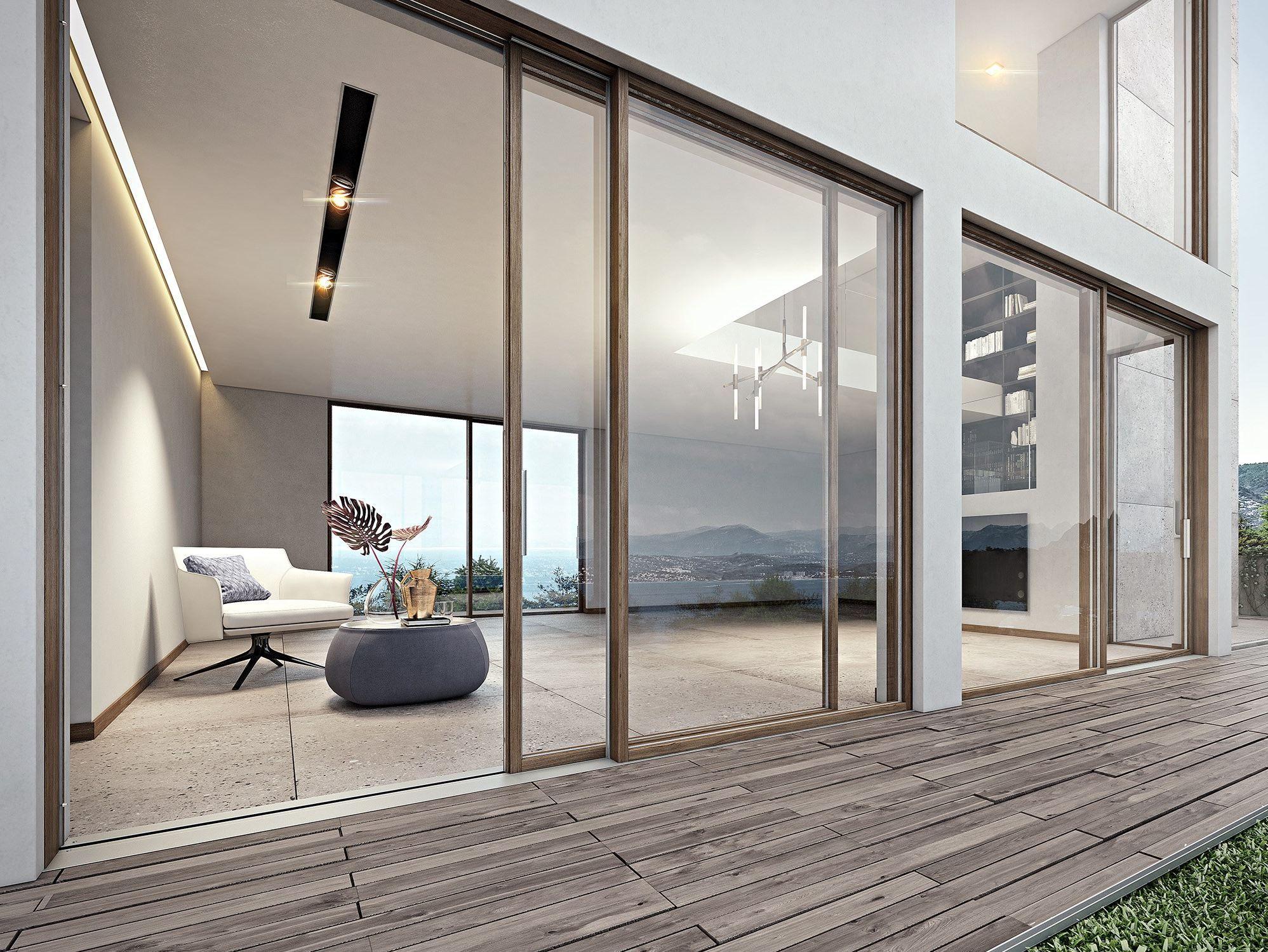Porta finestra scorrevole complanare slim 68 l by pail for Serramenti legno