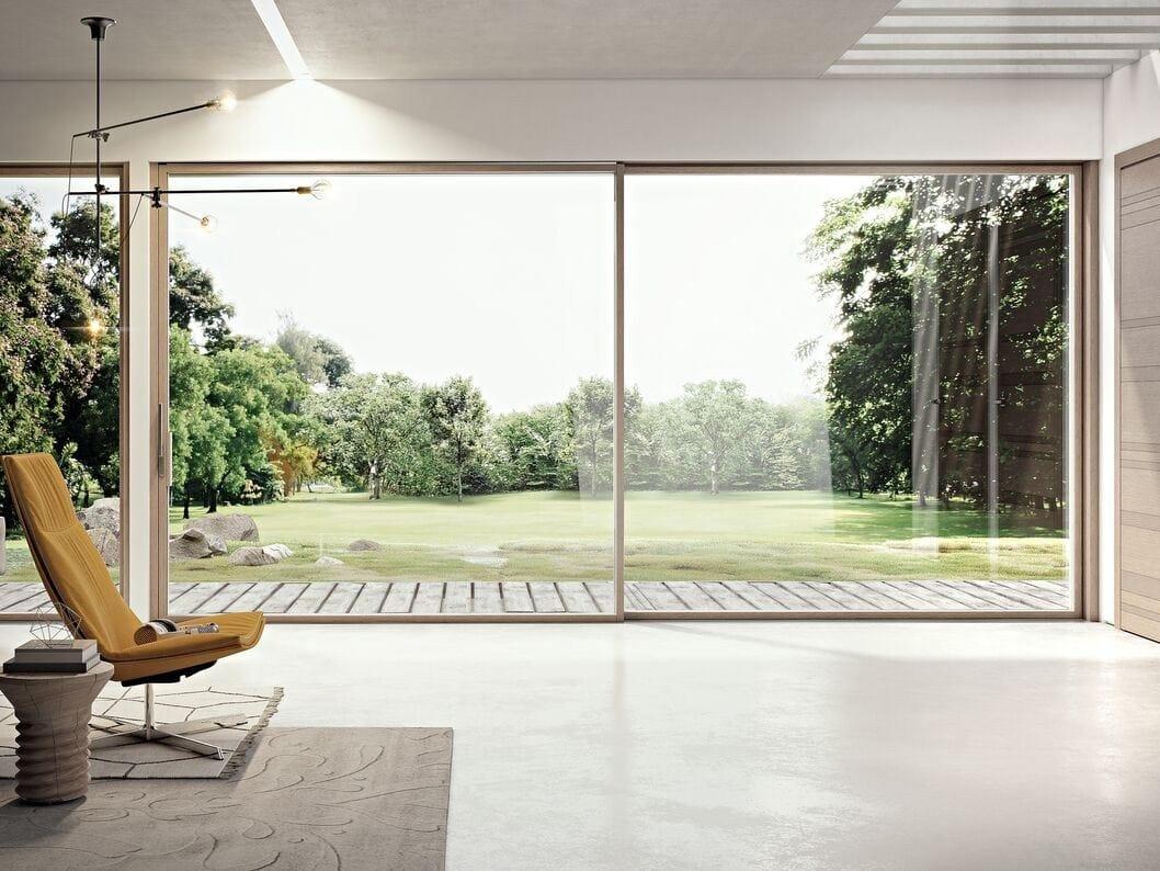 Porta finestra scorrevole in alluminio e legno slim 80 la - Porta finestra scorrevole prezzi ...