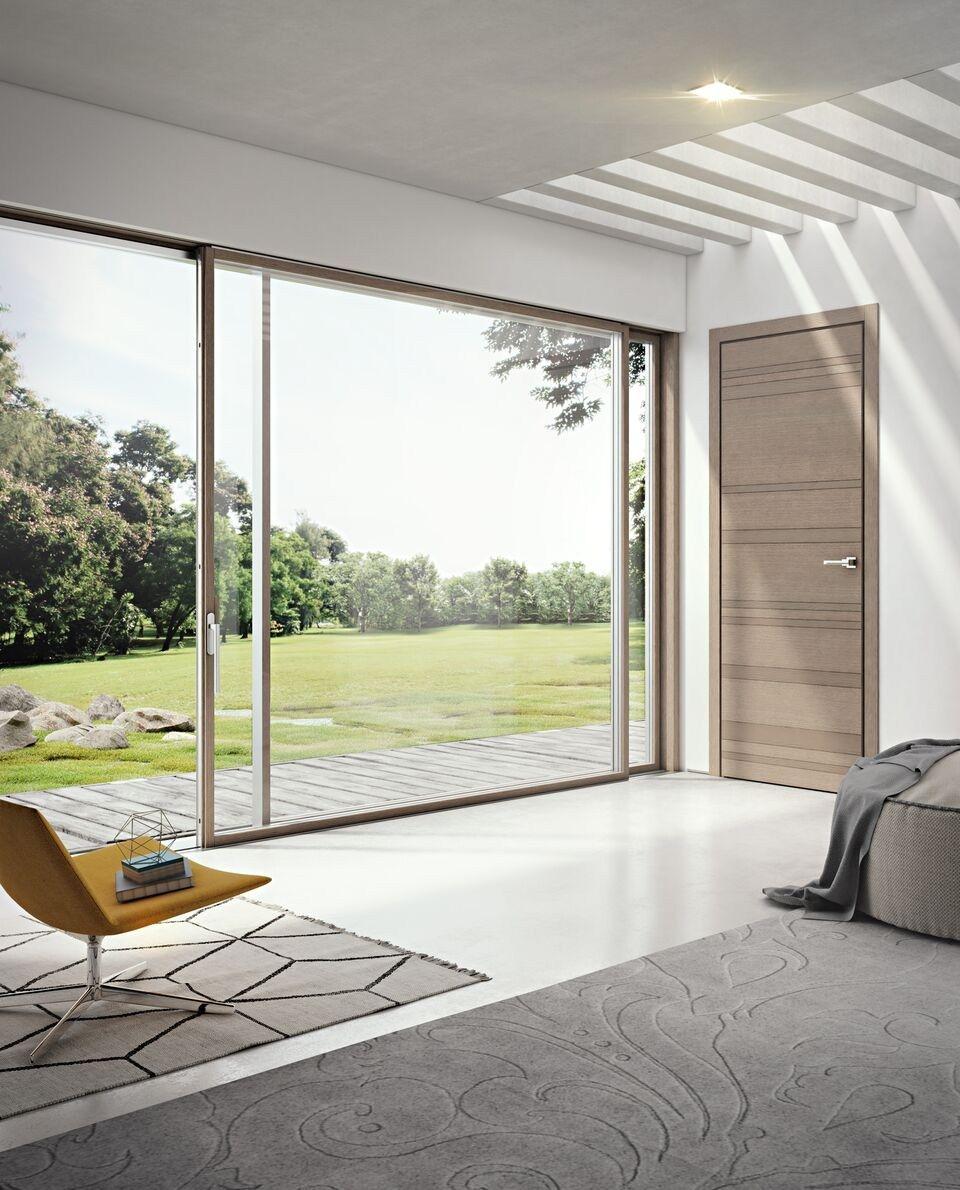 Porta finestra scorrevole in alluminio e legno slim 80 la by pail serramenti - Porta finestra legno ...