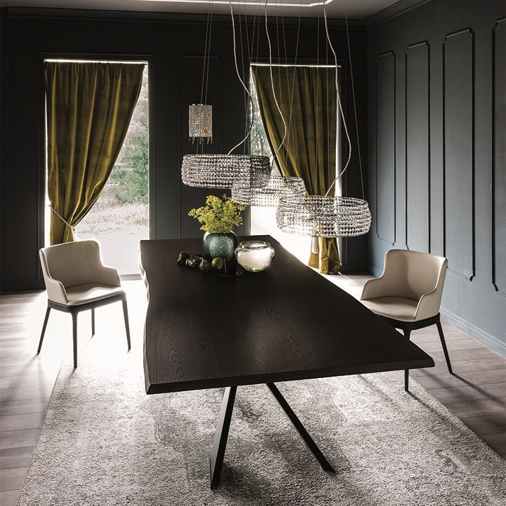 Jackson Rectangular Table With Metal Base: Rectangular Wooden Table SPYDER WOOD By Cattelan Italia