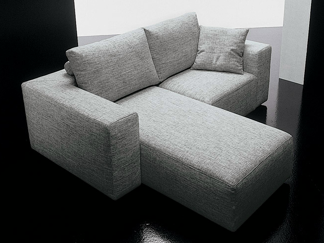 Canap 2 places en tissu square canap avec m ridienne collection square by d m - Divano 2 posti con chaise longue ...