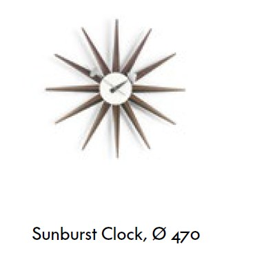 dimensions sunburst clock