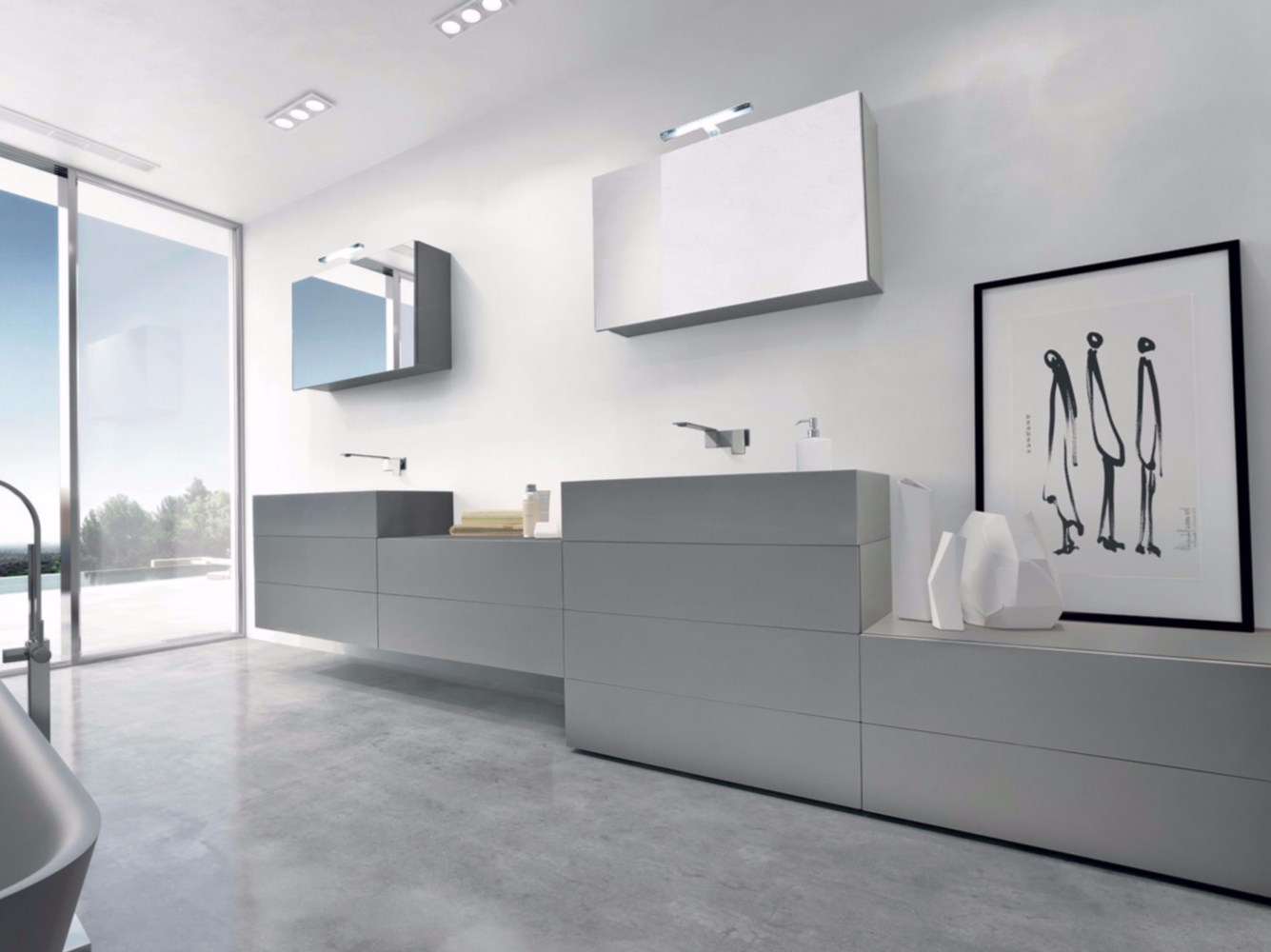 Meuble sous vasque composable double avec tiroirs syn 01 for Meubles sous vasque