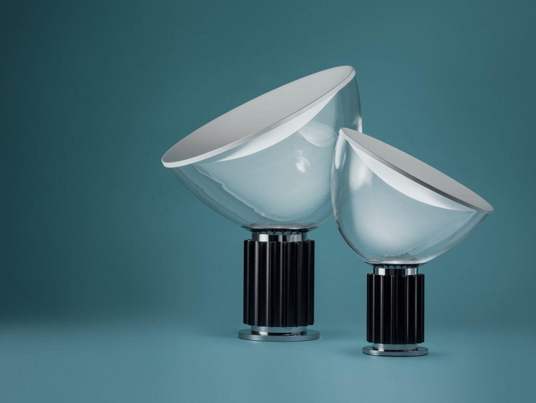 Led indirect light glass and aluminium table lamp taccia for Castiglioni light