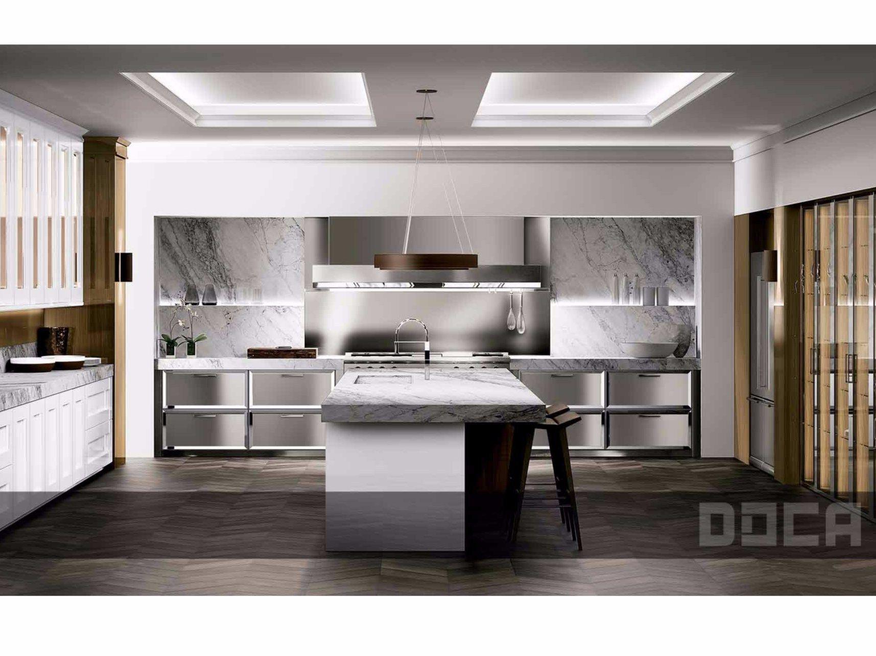 Cucina in stile classico con isola timeless blanco brillo - Isletas de cocina ...