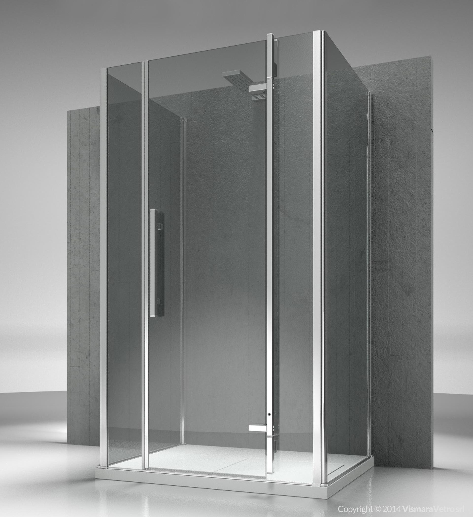 Box doccia su misura in vetro temperato TIQUADRO QG+QM+QG by ...