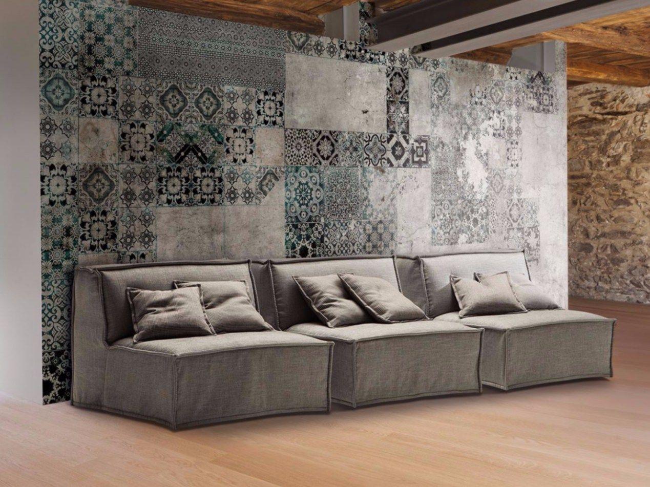 Divano letto imbottito modulare in tessuto tommy by milano for Milano bedding