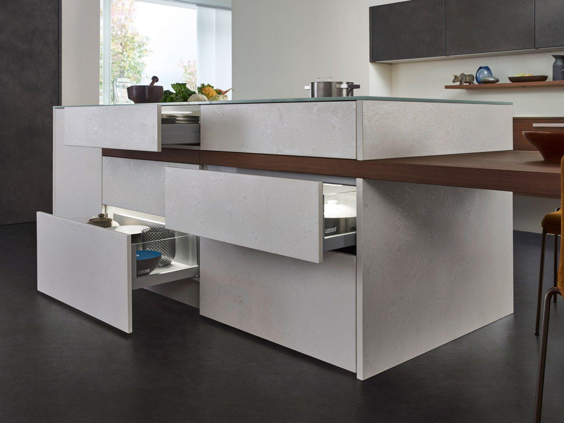 Kitchen with island topos concrete by leicht küchen