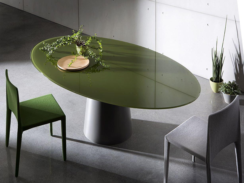 Tavolo ovale in acciaio inox e cristallo totem elliptical - Tavolo in cristallo ovale ...