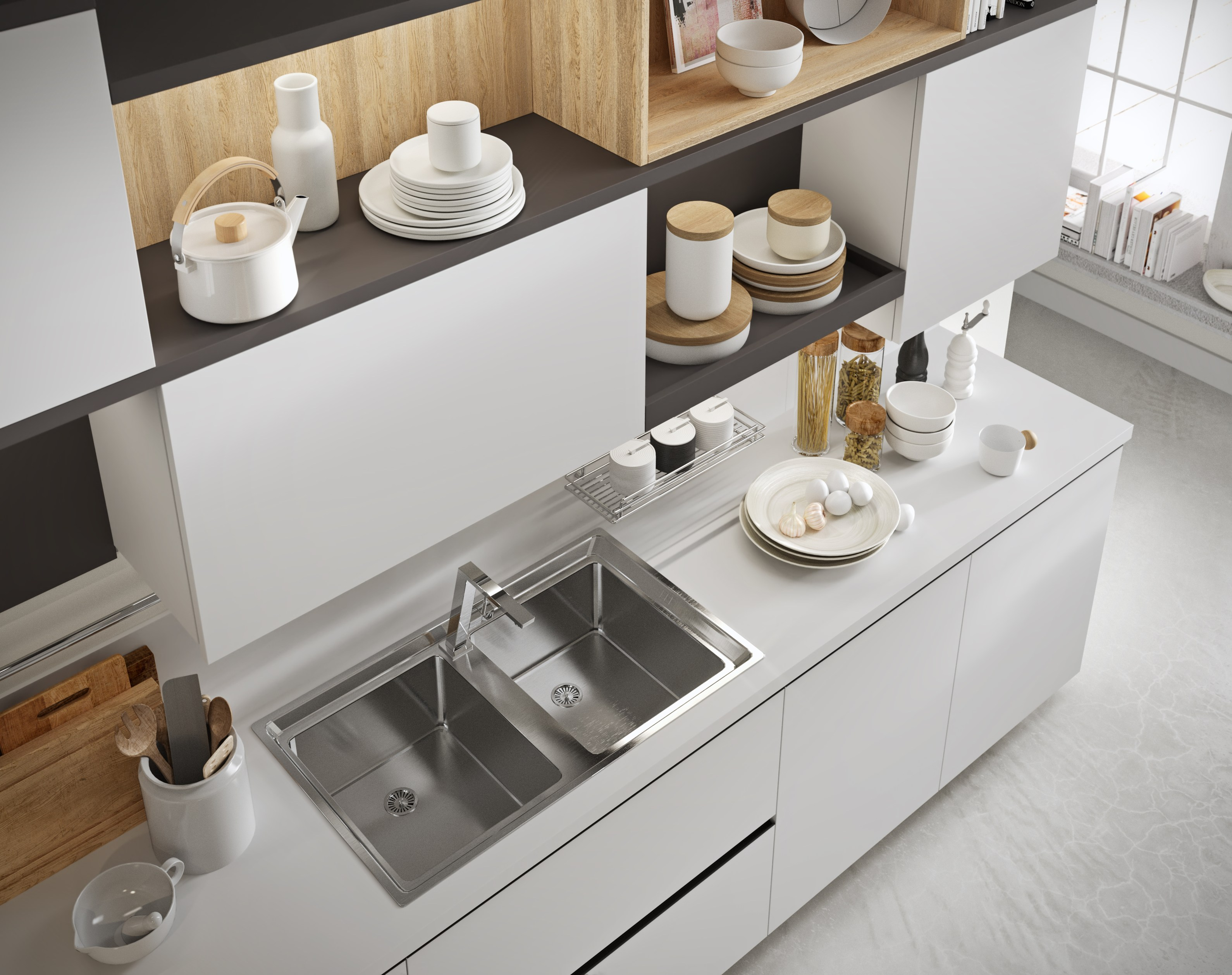 Fitted kitchen with integrated handles joy by snaidero design snaidero for Mercatone uno cucine classiche