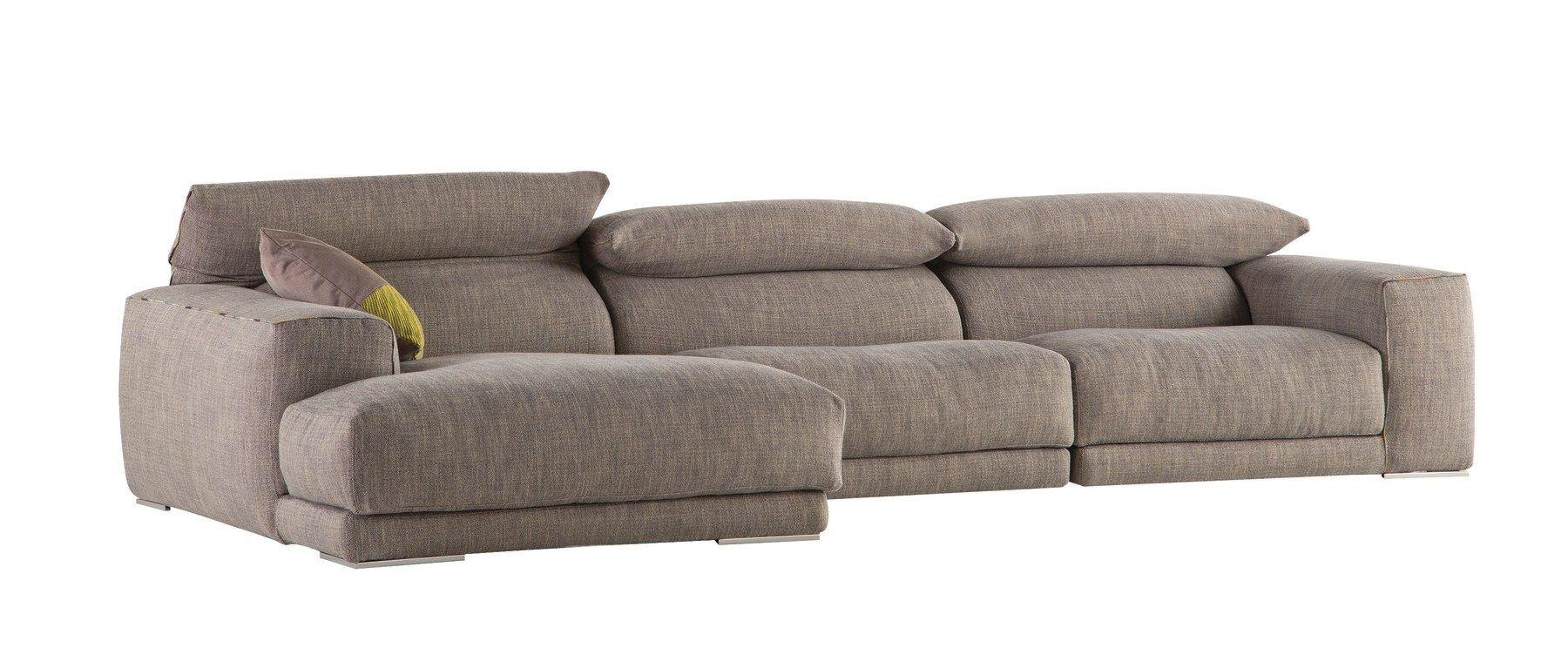 Divano sfoderabile in tessuto con chaise longue upside by for Chaise longue roche bobois