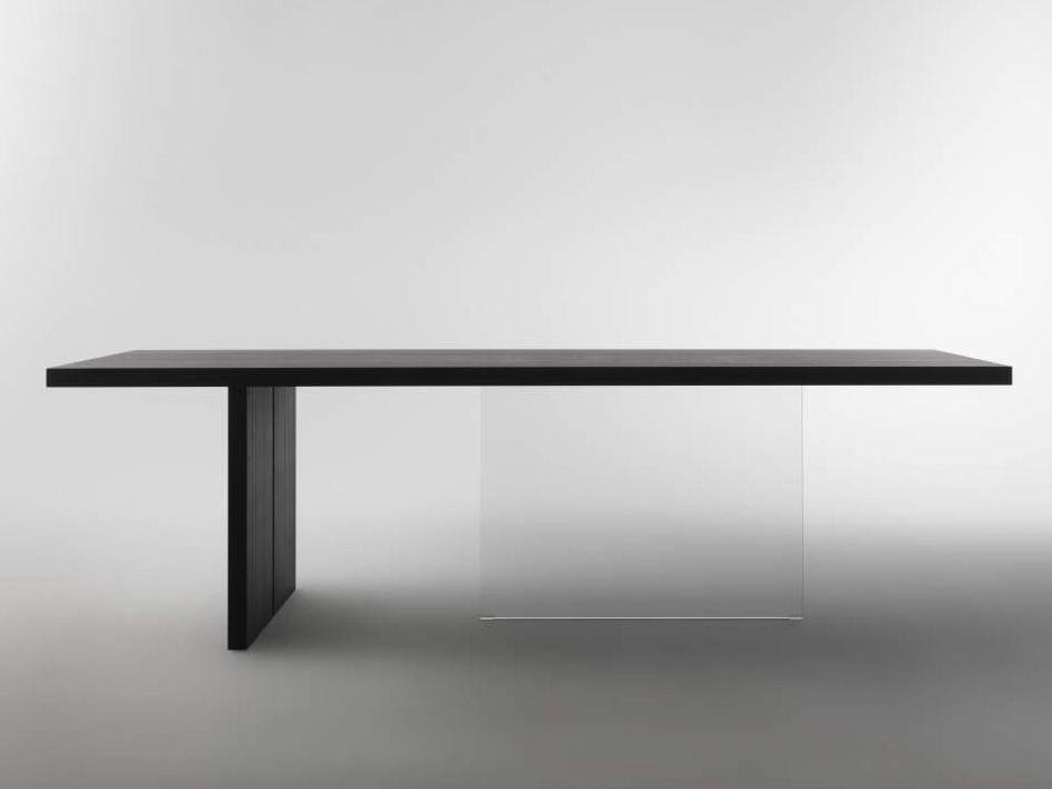 Rectangular wood and glass dining table vertigo by lago for Daniele lago