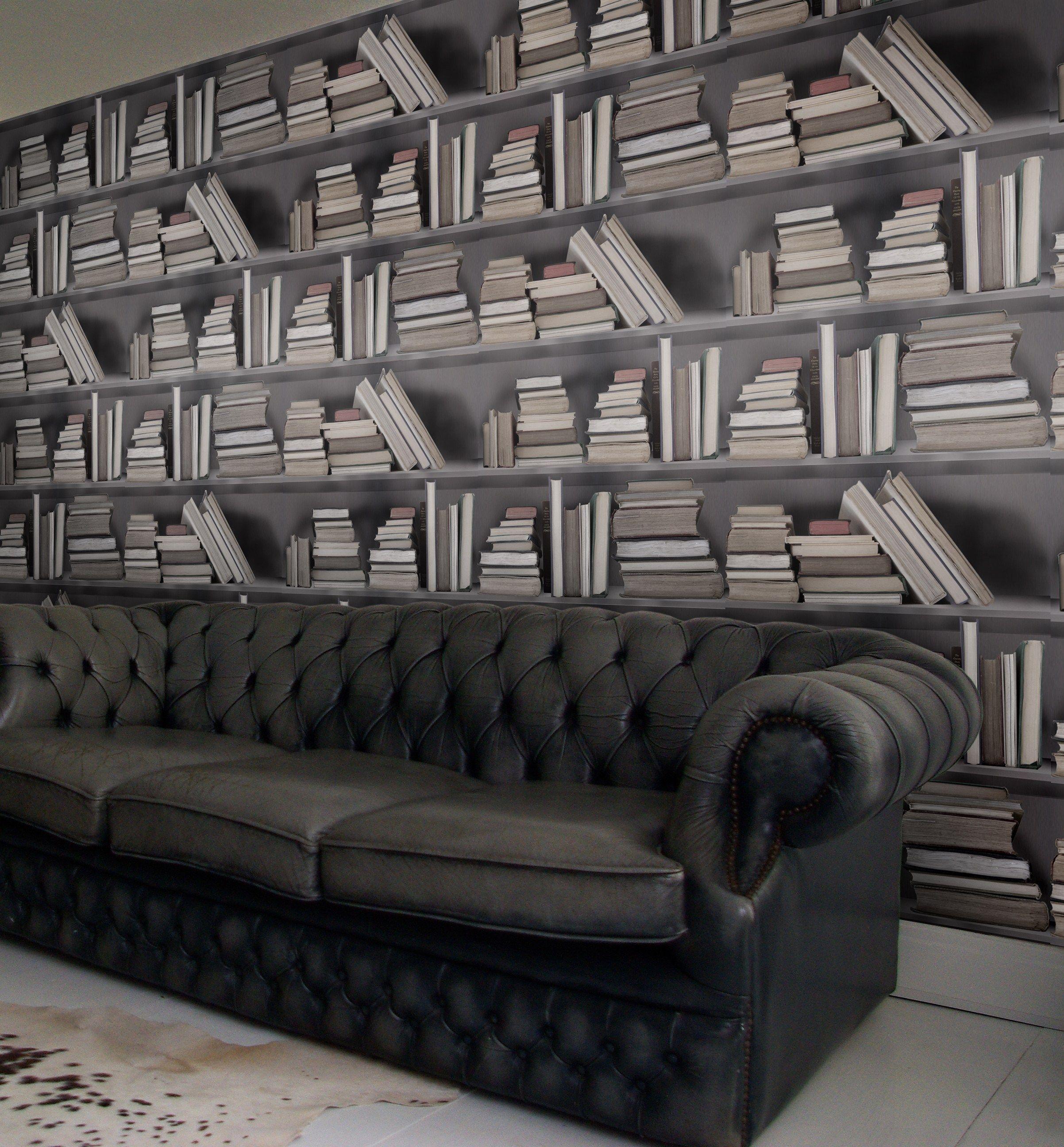 carta da parati trompe l 39 oeil vintage bookshelf by mineheart. Black Bedroom Furniture Sets. Home Design Ideas