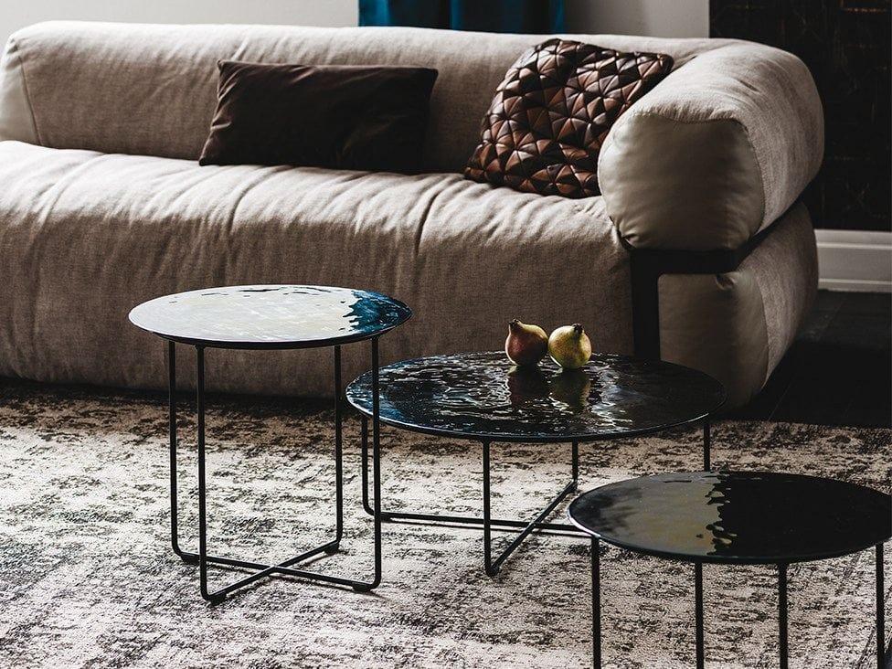 Low Round Murano Glass Coffee Table Vinyl By Cattelan Italia Design Oriano Favaretto