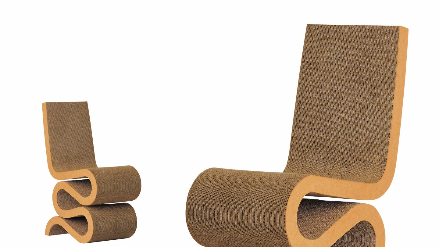 sedia in cartone wiggle side chair collezione easy edge by vitra design frank owen gehry. Black Bedroom Furniture Sets. Home Design Ideas
