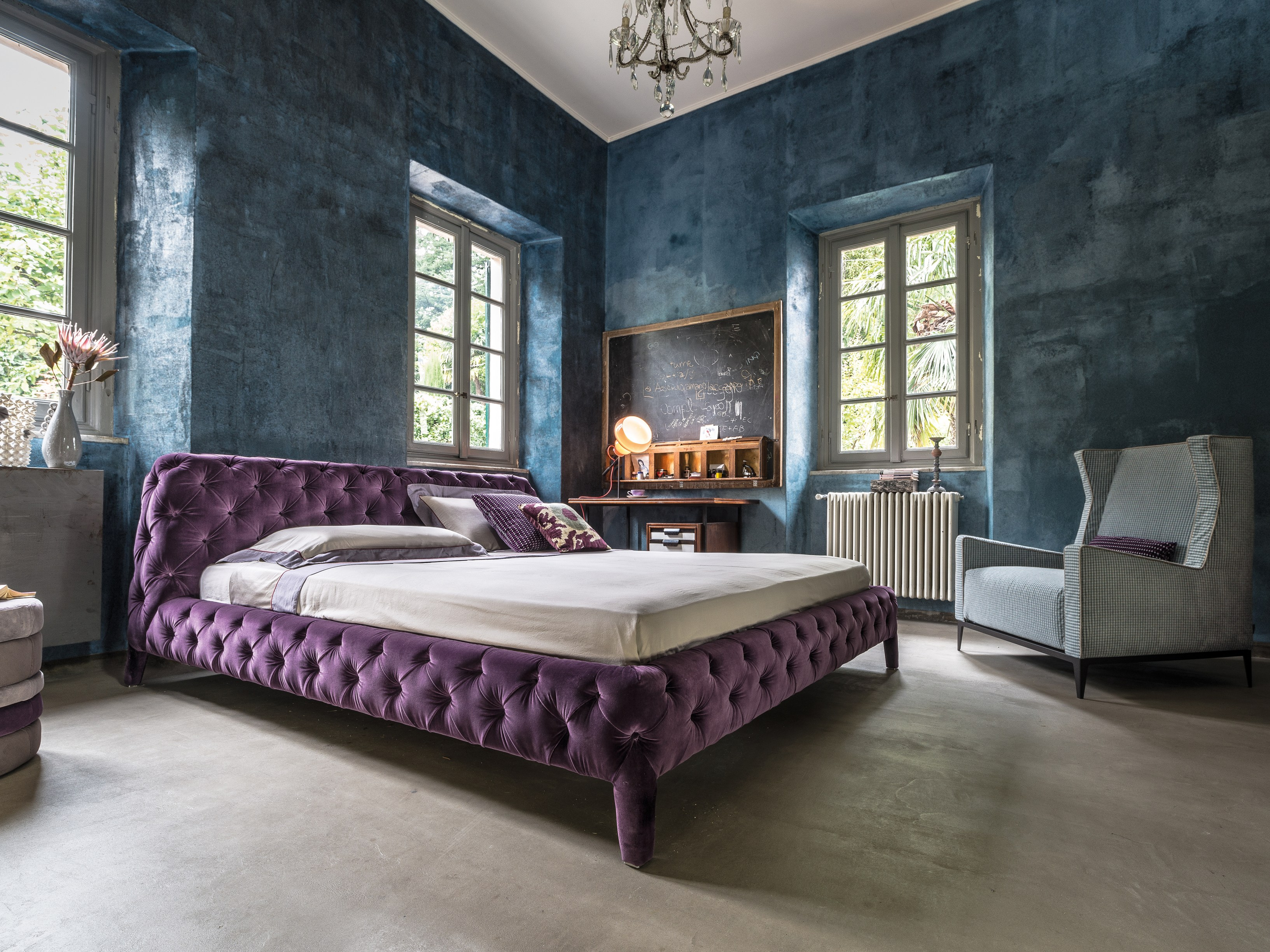 Double bed with tufted headboard WINDSOR DREAM by Arketipo ...