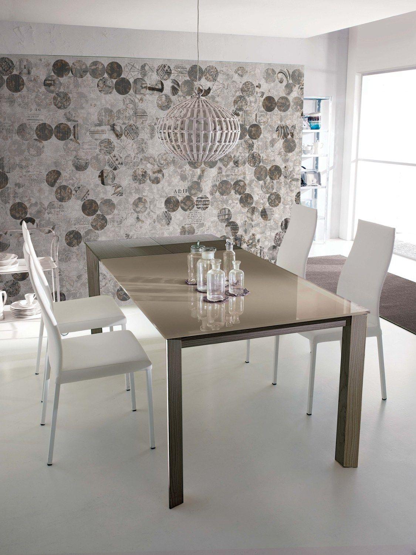 Tavolo allungabile da pranzo wing legno tavolo in cristallo by ozzio italia design marco pozzoli - Tavolo allungabile in cristallo ...