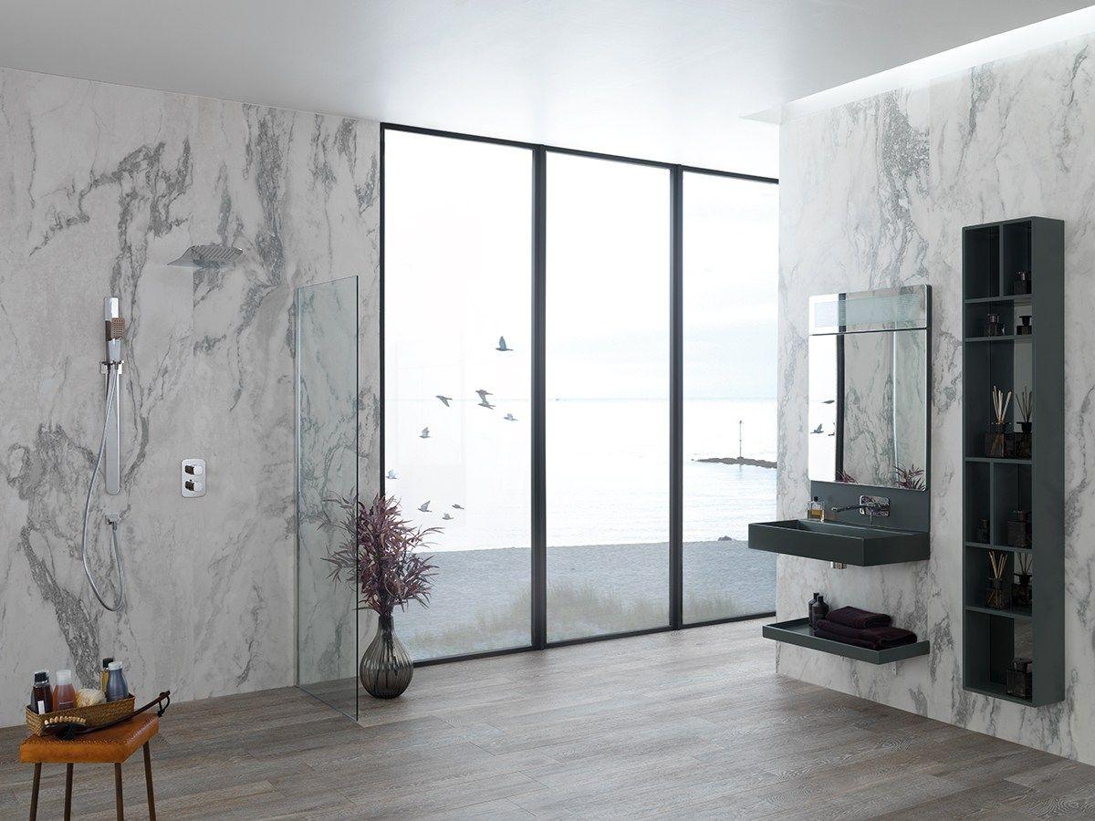 Revestimiento de pared ultra fino de gres laminado for Gres imitacion marmol
