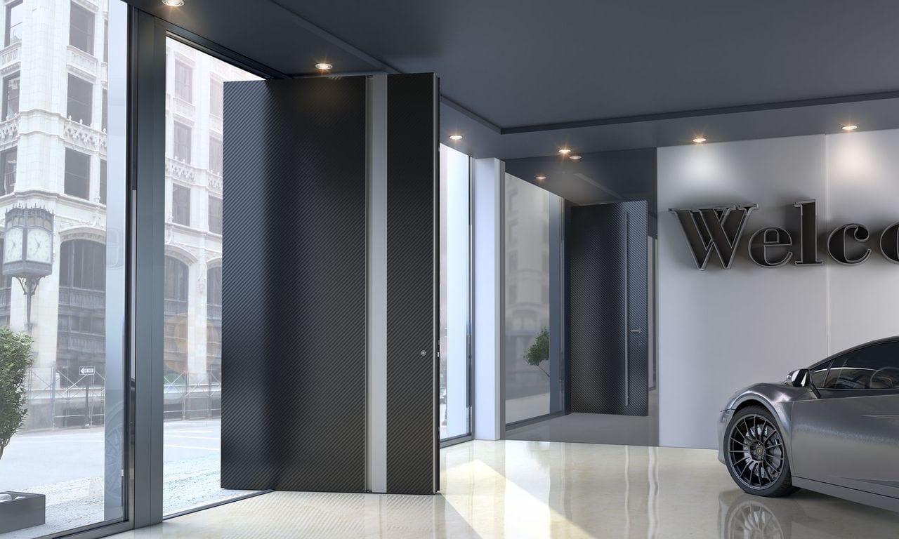 Aluminium Pivot Entry Door Zen Pivot Carbon By Interno Doors