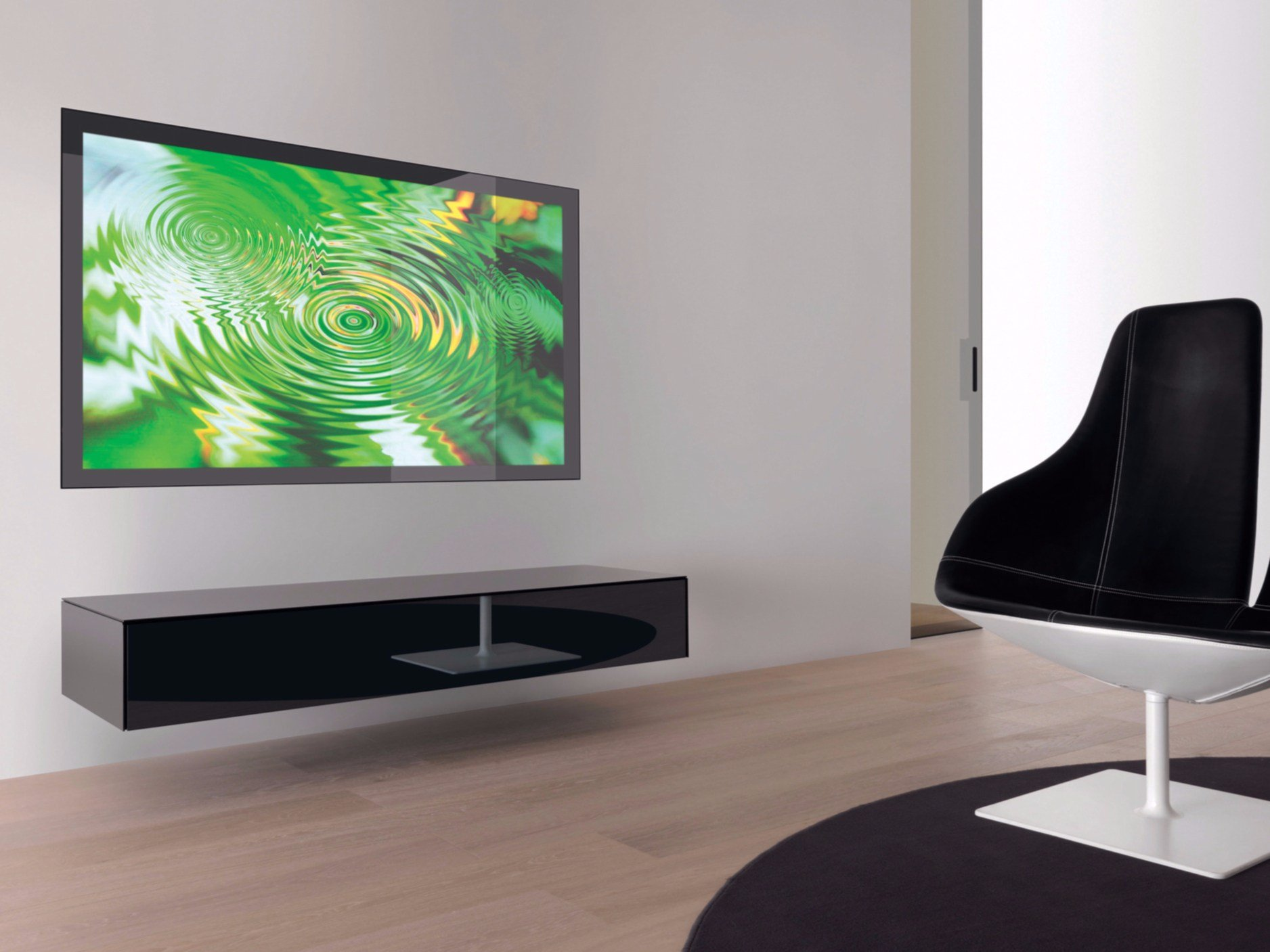 wall mounted tv cabinet with built in speakers zero zero by res design gianluca santambrogio. Black Bedroom Furniture Sets. Home Design Ideas