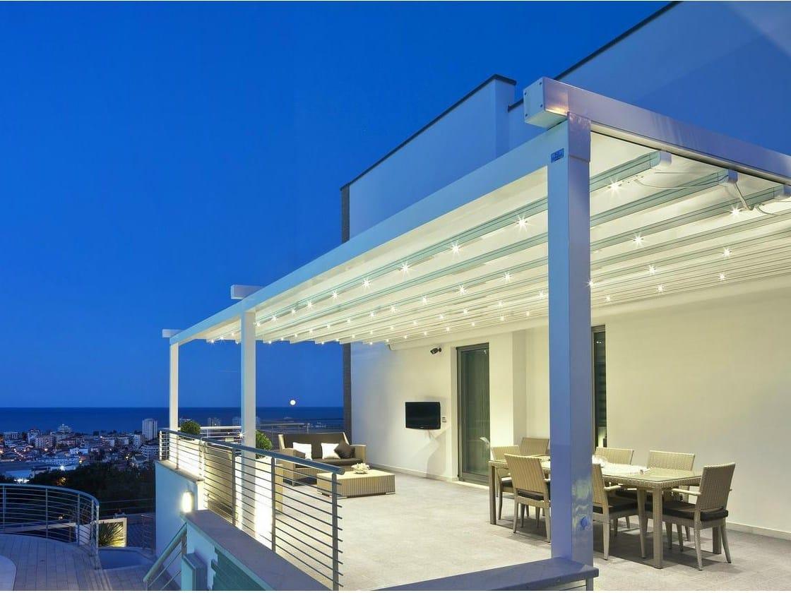 pergola en aluminium avec couverture coulissante a2 compact by ke protezioni solari. Black Bedroom Furniture Sets. Home Design Ideas