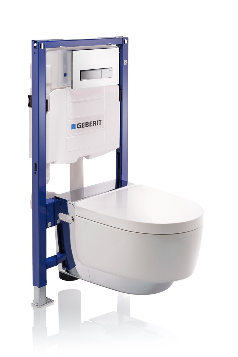 Wall hung toilet with bidet aquaclean mera by geberit italia for Geberit products