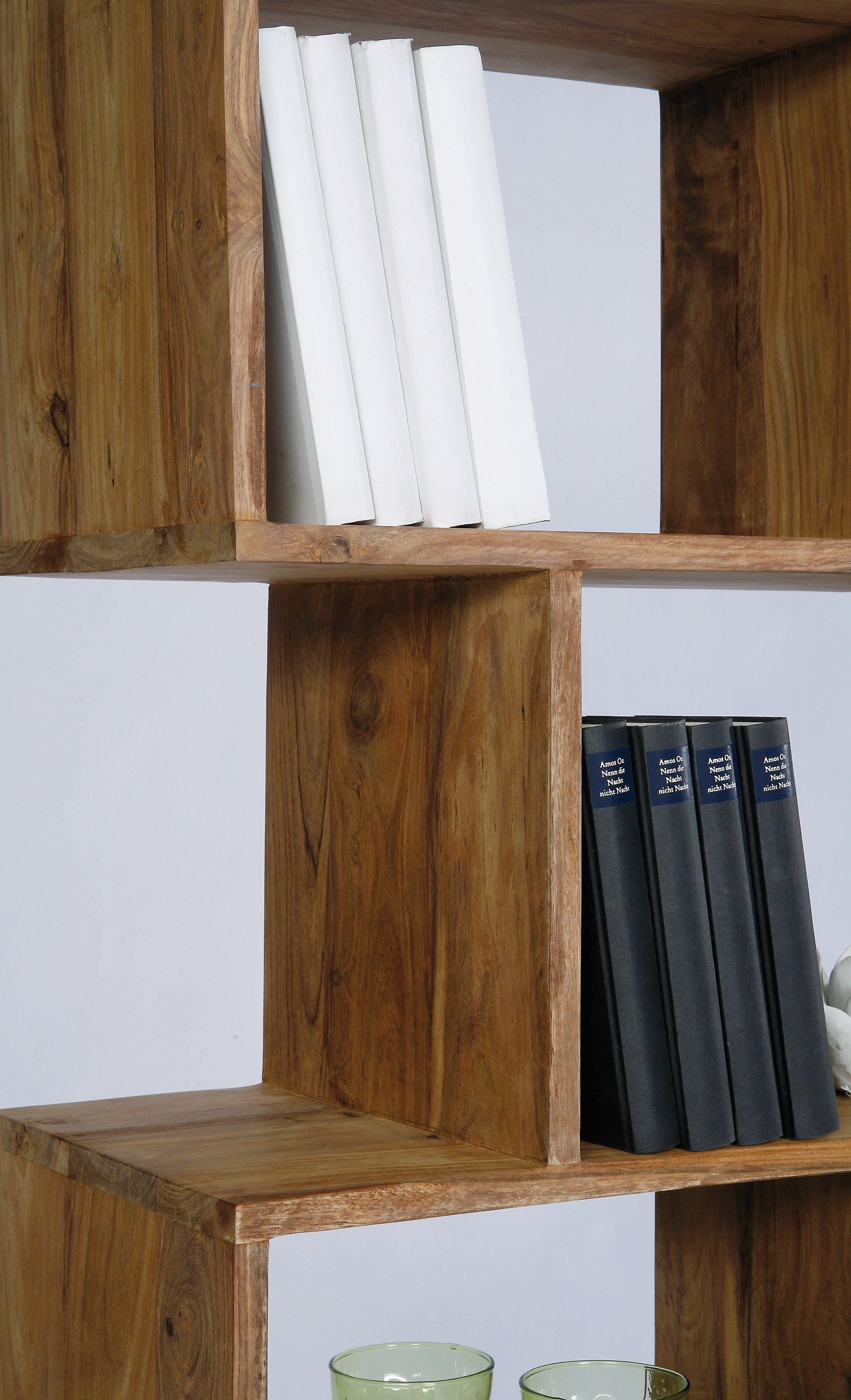 Libreria a giorno in legno authentico zick zack 150 by for Mobili kare design
