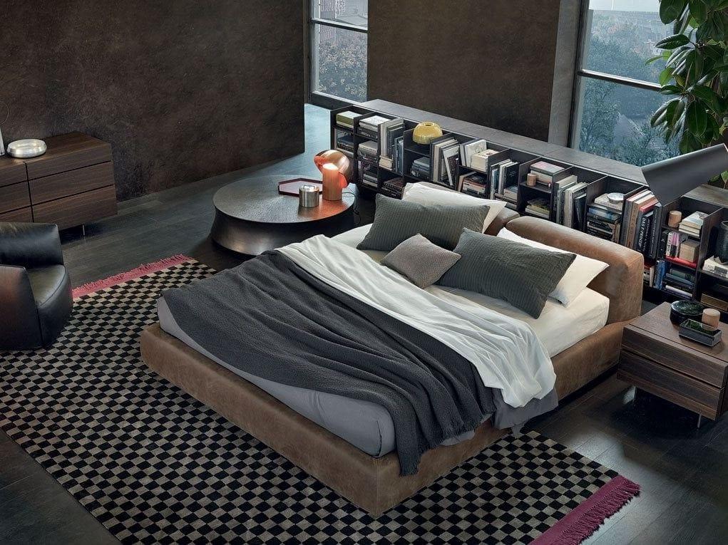 Doppelbett aus Leder mit Polsterkopfteil Kollektion Bolton by ...
