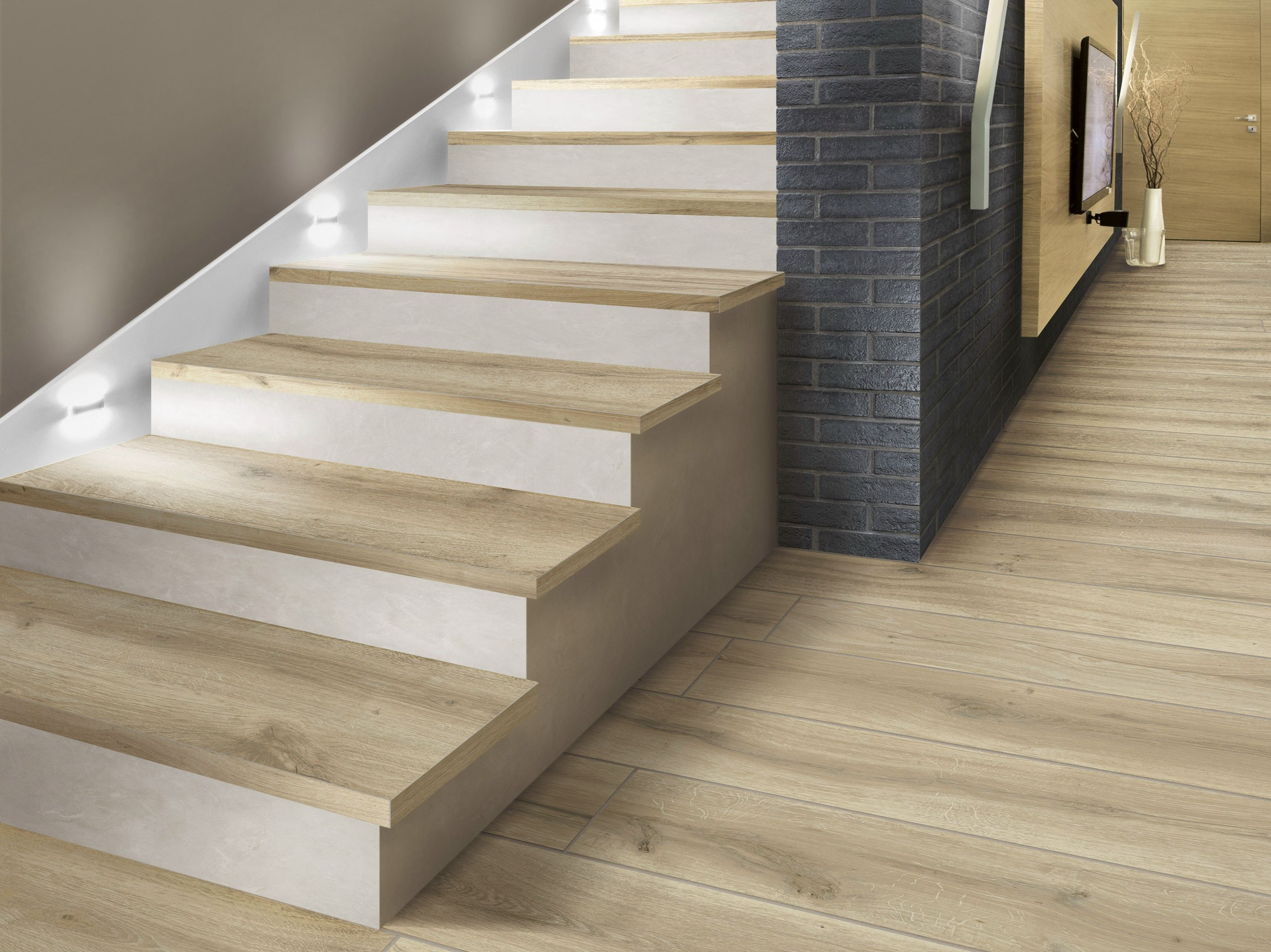 porcelain stoneware wallfloor tiles with wood effect bricola by ceramica rondine