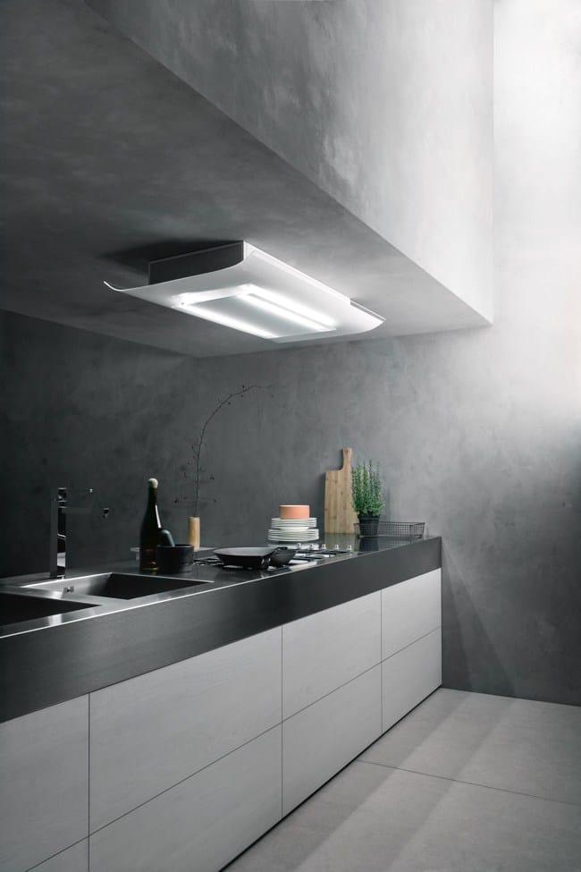 hotte en verre tremp avec clairage int gr cielo by falmec. Black Bedroom Furniture Sets. Home Design Ideas