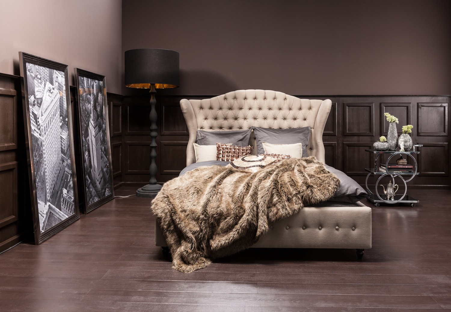 Fabric Double Bed With Tufted Headboard City Spirit Linen Natural By Kare Design