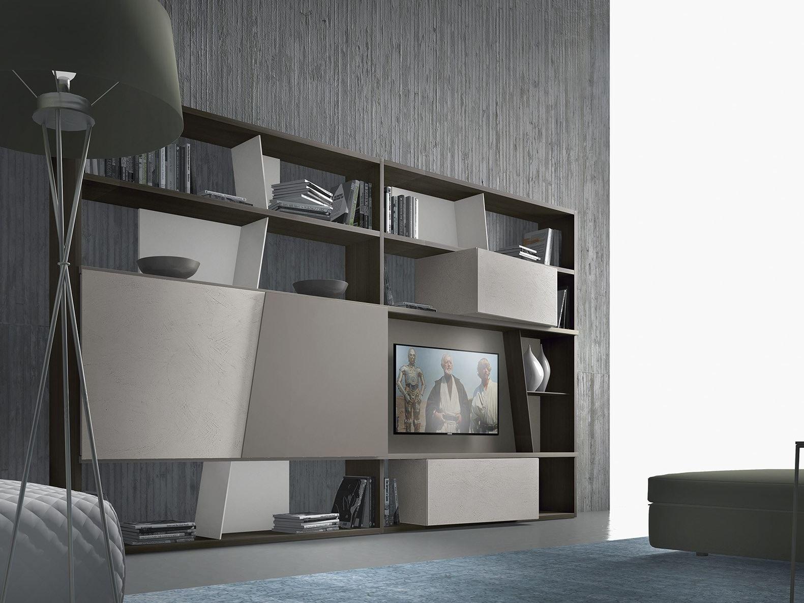 Parete attrezzata componibile laccata in legno crossart for Presotto mobili prezzi