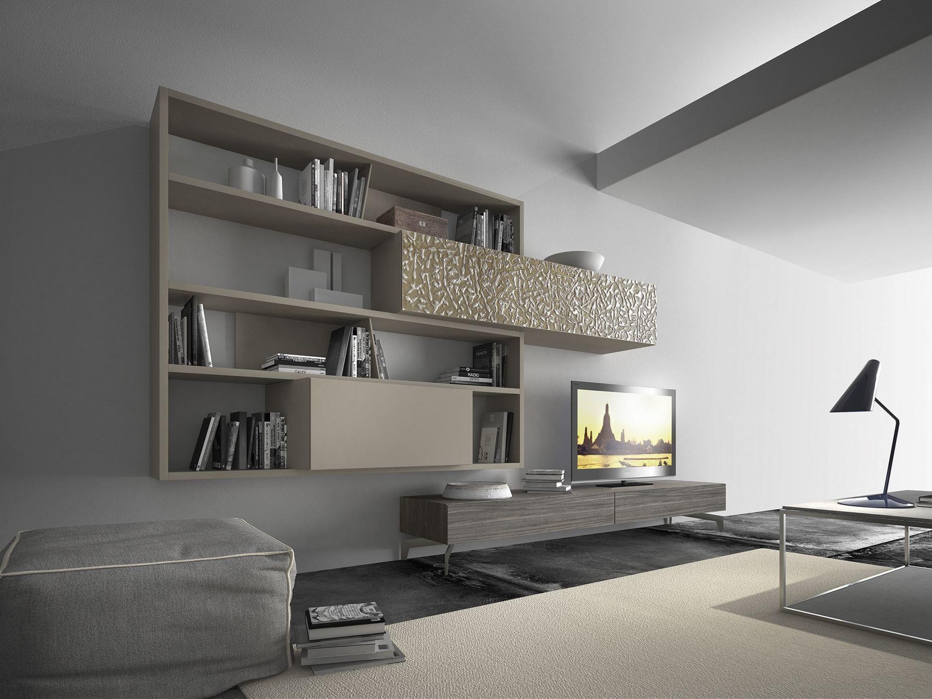Parete attrezzata componibile fissata a muro in legno con for Presotto mobili prezzi