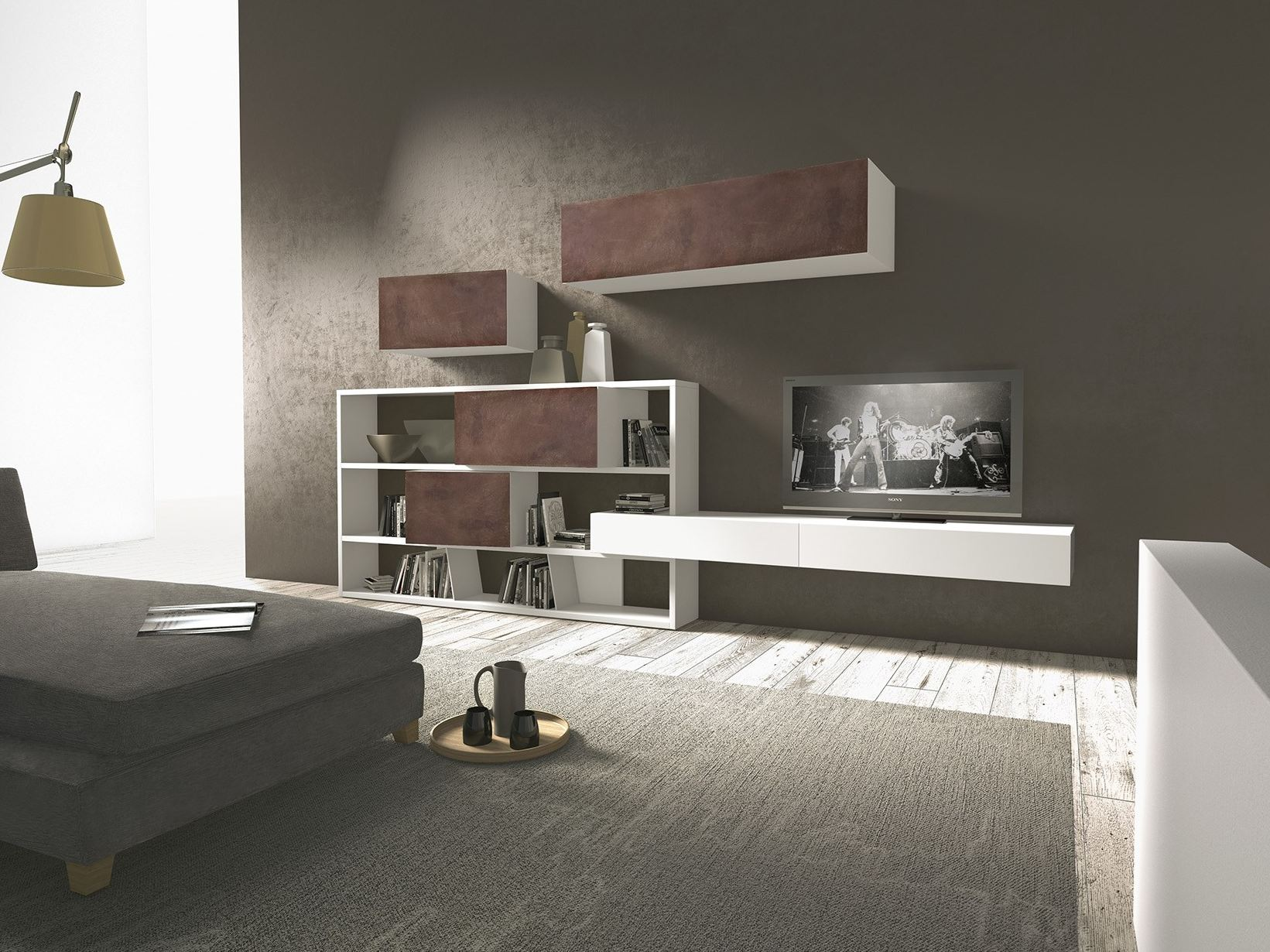 Parete attrezzata componibile fissata a muro in legno for Presotto mobili
