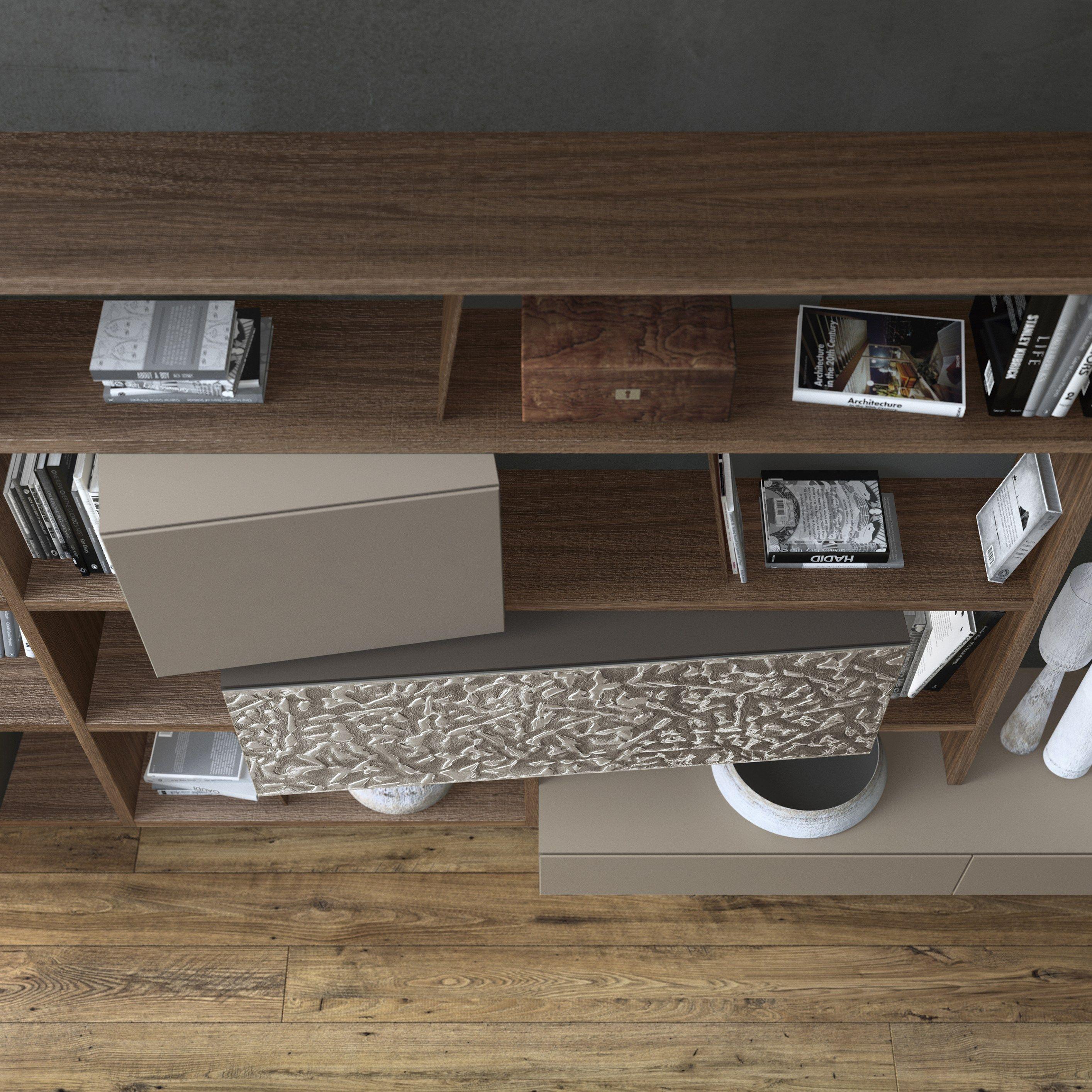 Anbau wandmontierte wohnwand aus holz crossart 528 by for Presotto industrie mobili