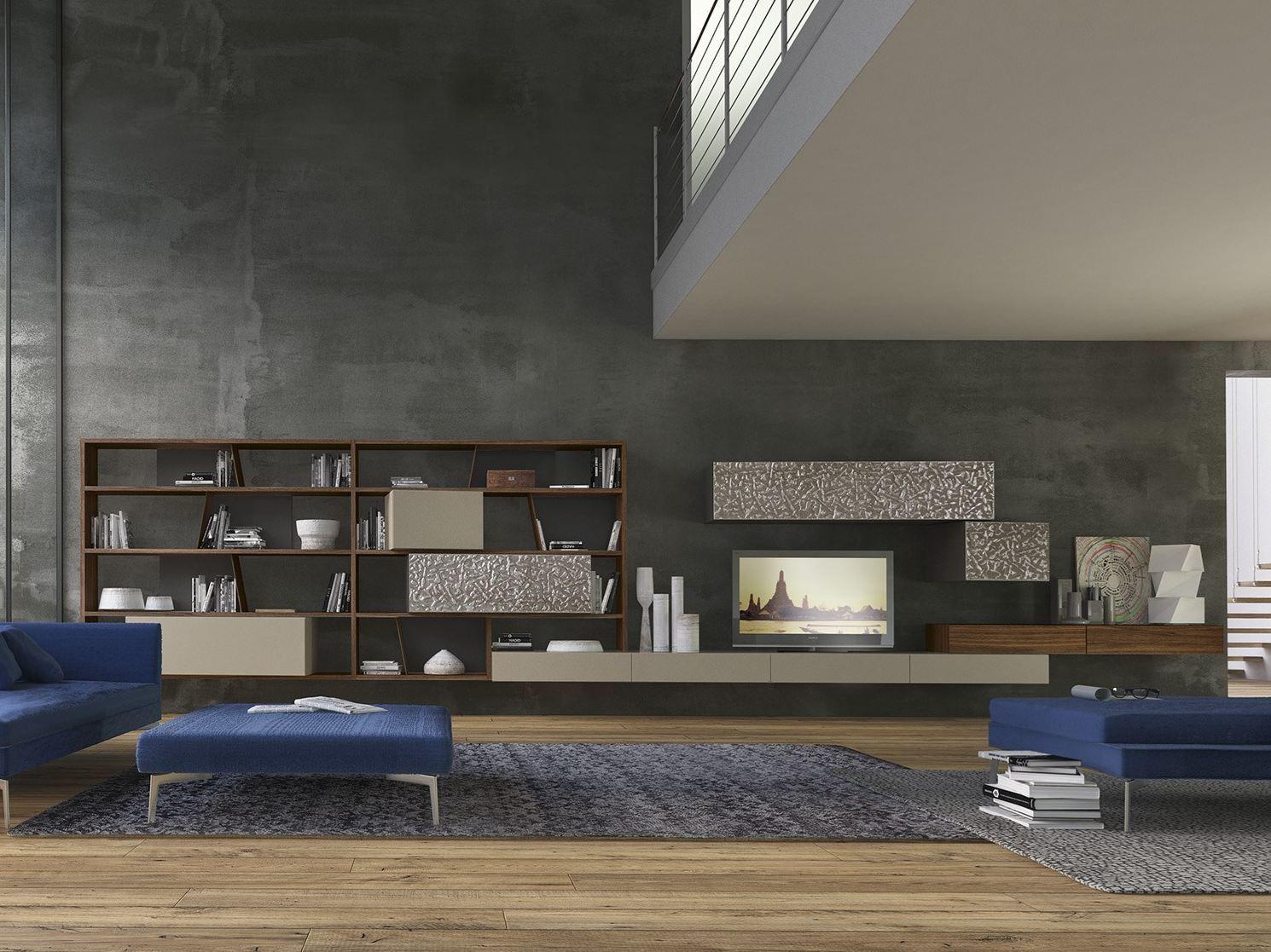 Anbau wandmontierte wohnwand aus holz crossart 528 by for Wohnwand aus holz