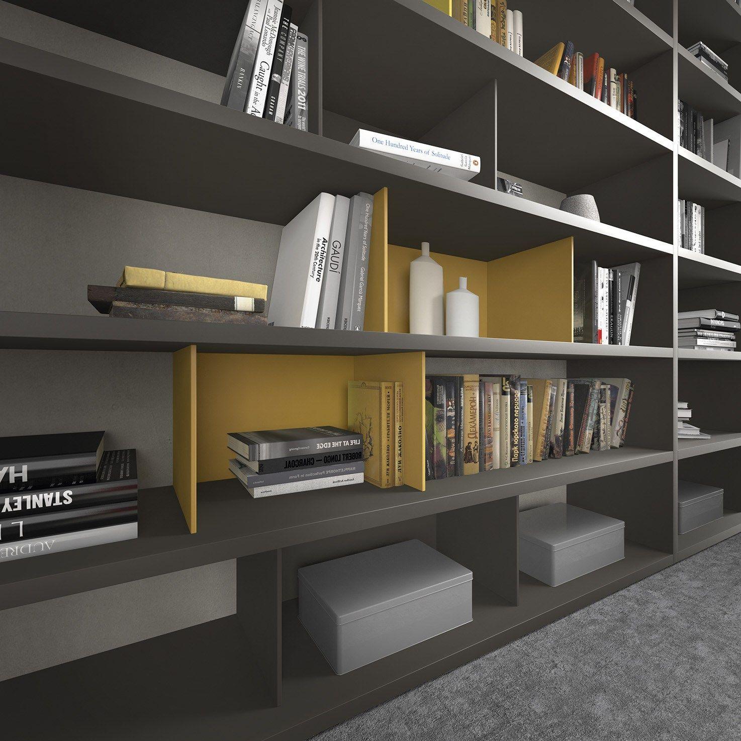 Libreria componibile modulare in legno pari dispari for Presotto industrie mobili