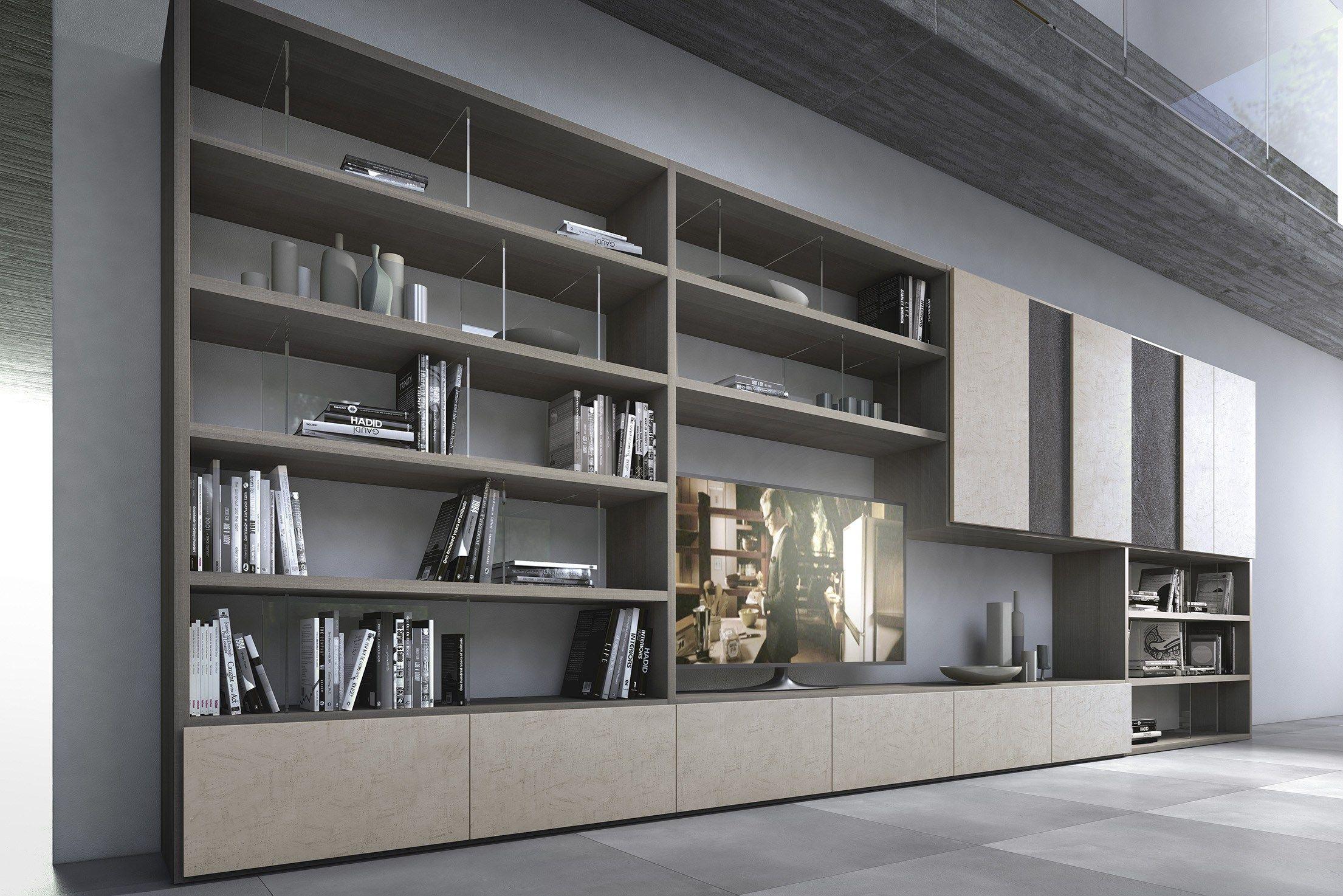 Parete attrezzata componibile in legno con porta tv pari - Presotto mobili ...