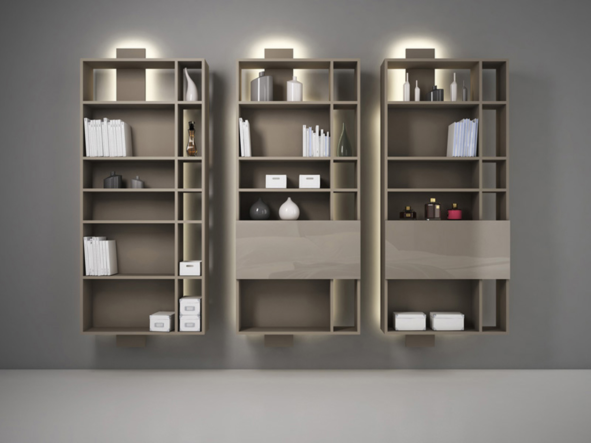 biblioth que murale laqu e suspendue contatto by estel group. Black Bedroom Furniture Sets. Home Design Ideas