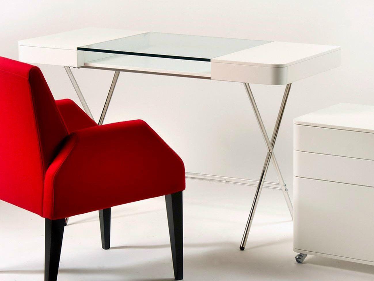 Schreibtisch Aus Mdf Und Glas Mit Schubladen Cosimo LaquÉ Blanc, Möbel
