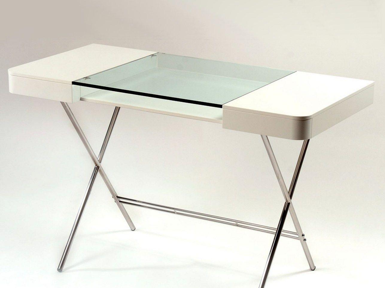 Bureau en mdf et verre avec tiroirs cosimo laqu blanc mat - Bureau en verre blanc ...