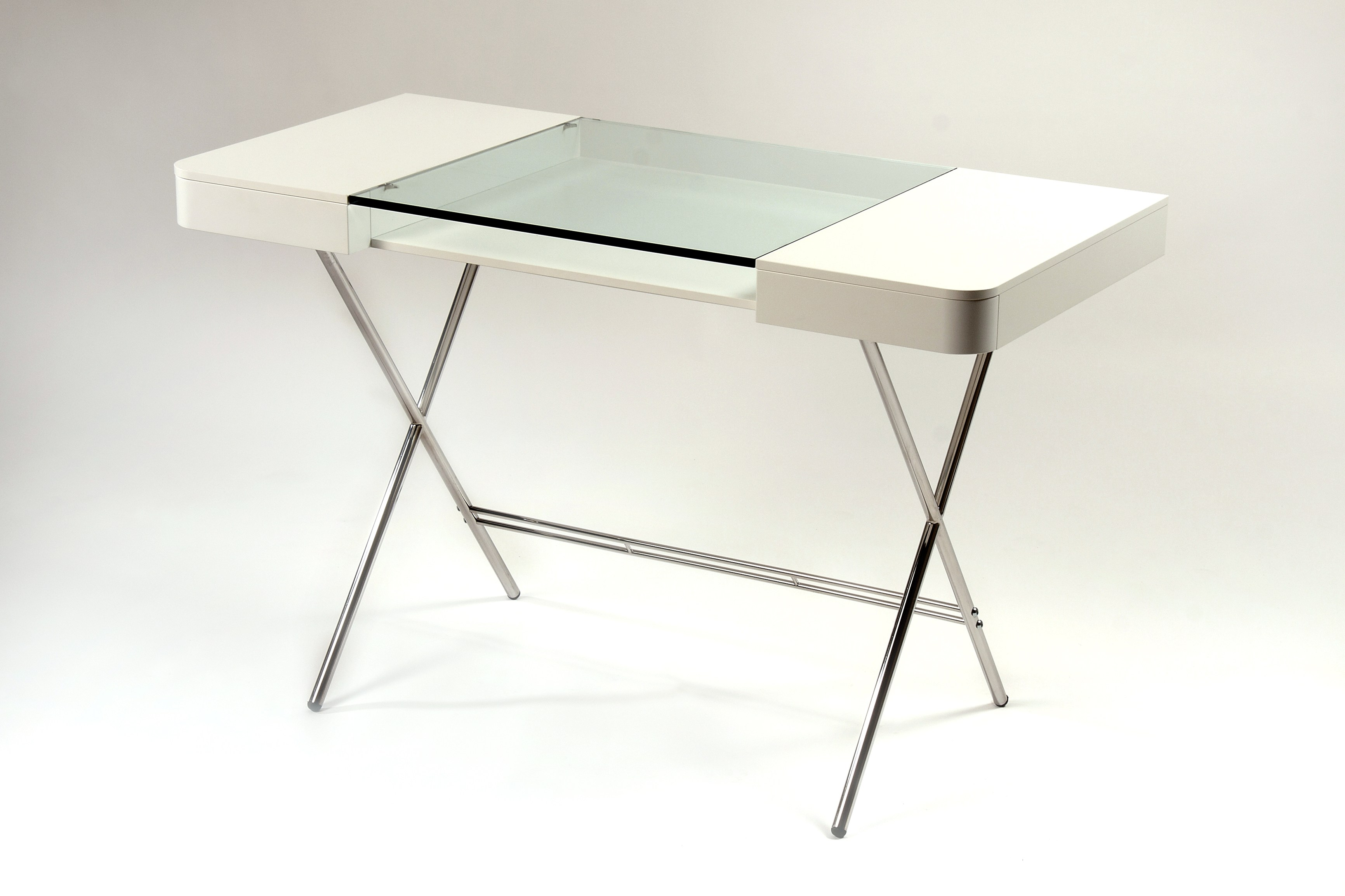 mdf and glass writing desk with drawers cosimo laquÉ blanc mat  - mdf and glass writing desk with drawers cosimo laquÉ blanc mat cosimocollection by adentro design marco zanuso