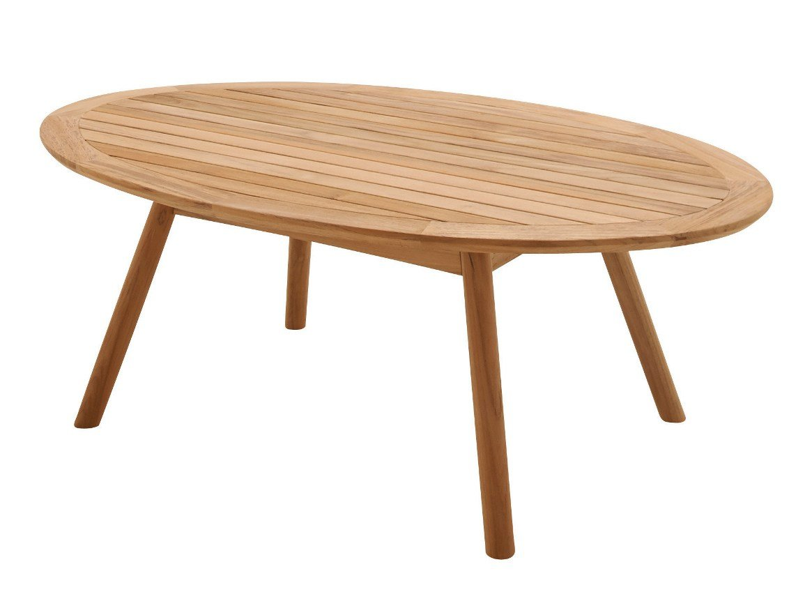 Oval teak garden side table dansk collection by gloster for Oval teak coffee table