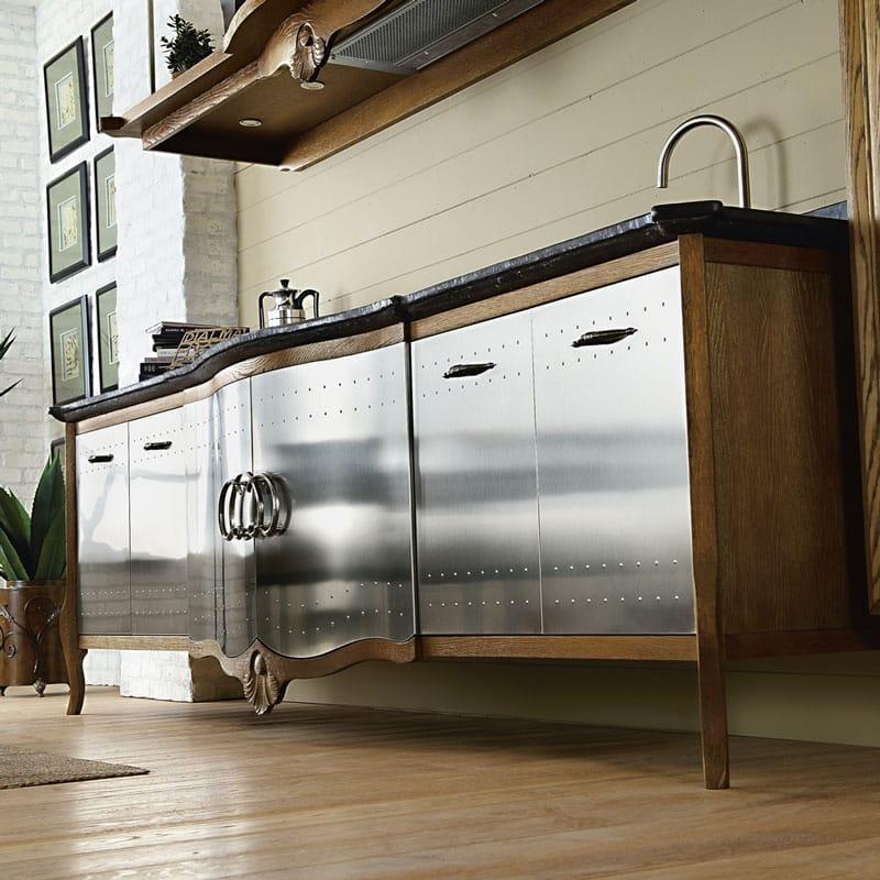 Cucina componibile in acciaio inox e legno dechora composizione 02 collezione dechora by - Cucine legno e acciaio ...