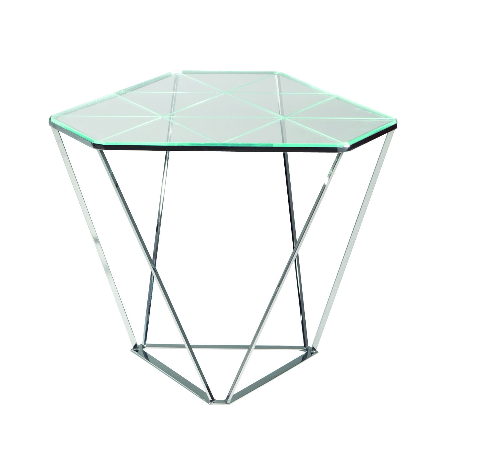 Glass side table diamond les contemporains collection by for Table extensible roche bobois
