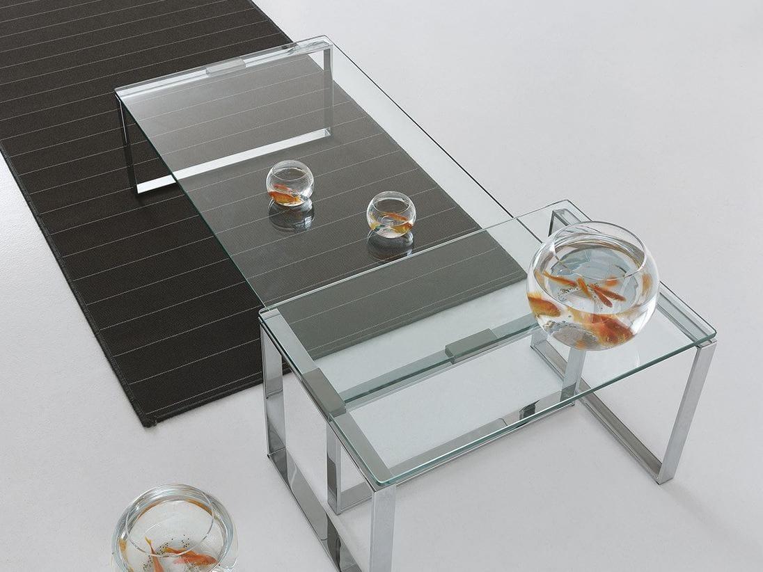 Niedriger couchtisch aus glas f r wohnzimmer duo by for Presotto industrie mobili